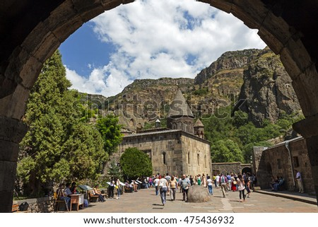GEGHARD, ARMENIA - AUGUST 21, 2016:Geghard is a medieval monastery, located in the Kotayk province of Armenia