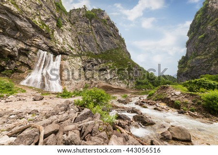 Gegsky waterfall in the forest, Abkhazia - stock photo