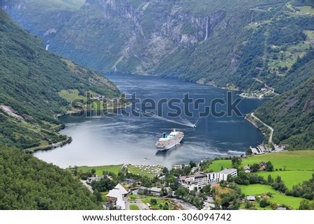 Geiranger Fiord in Norway. More og Romsdal county landscape. - stock photo