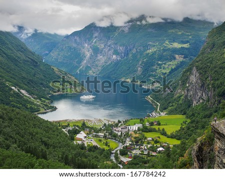 Geiranger fiord - the most bveautifull fiord in the world - stock photo