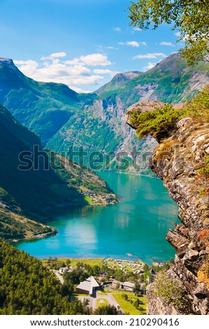 Geiranger fjord, Norway - stock photo