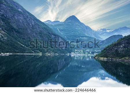 Geiranger fjord, Norway - sea view on mountains - stock photo