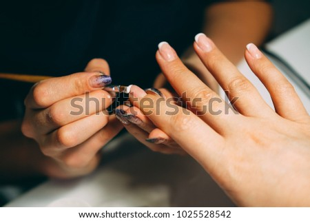 Gel Nail Extensions Build Up Process Women At Beauty Parlour Doing Manicure