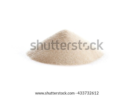 Gelatin powder on white, also spelled gelatine, used as a gelling agent for food, pharmaceuticals, photography and cosmetics.