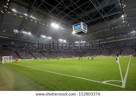 GELSENKIRCHEN, GERMANY -AUG 21: Interior view of the full Veltins Arena on Aug 21,2013 in Gelsenkirchen, Germany.