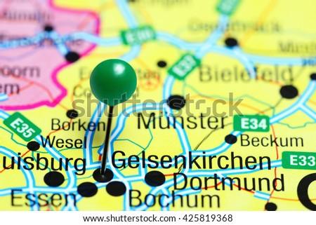 Gelsenkirchen Pinned On Map Germany Stock Photo 425819368 Shutterstock