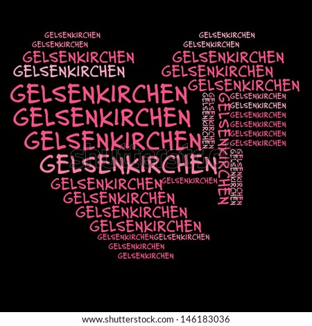 Gelsenkirchen word cloud in pink letters against black background