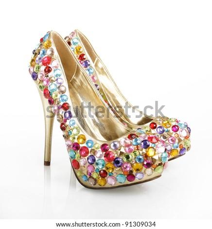 Gem Encrusted Golden Heels - stock photo