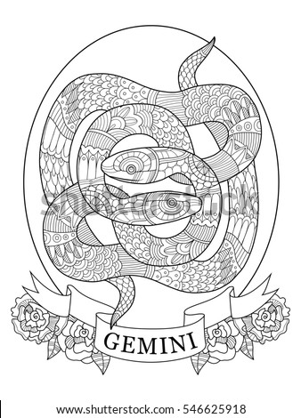 Gemini zodiac sign coloring book adults stock illustration for Gemini coloring pages