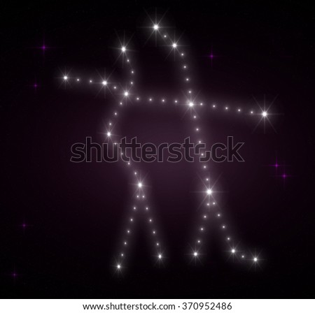 Gemini zodiac sign. Horoscope constellations background. Constellation map. Constellations background. Space stars wallpaper. Zodiac constellations. Galactic constellations and stars. - stock photo