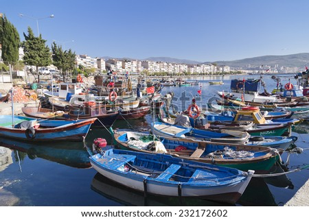 Gemlik, Bursa - October 21, 2014: View from coast of Gemlik located on south-west of Marmara Sea near Bursa city on 21 October.Gemlik is famous for sea trading, olives and fishery.
