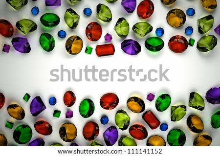 Gems plan view on a light background - stock photo