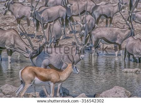 Gemsbok and spring buck at waterhole in Etosha National Park, photo art - stock photo
