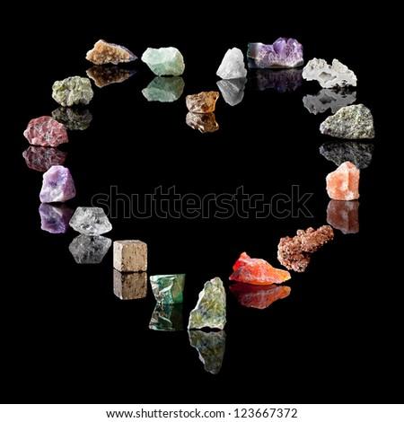 Gemstones and birthstones. Smokey Quartz, Rock Crystal, Amethyst, Agate, Olivine, Rock Salt, Vanadinite, Chalcedone, Wavellite, Malachite, Pyrite, Quartz, Fluorite, Jasper, Peridote, Citrine, Fluorite - stock photo