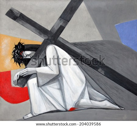 GEMUNDEN, GERMANY - JULY 18: 3rd Stations of the Cross, Jesus falls the first time, Church of the Holy Trinity on July 18, 2013 in the Bavarian village of Gemunden am Main in the Diocese of Wurzburg. - stock photo