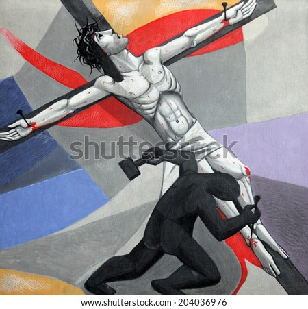 GEMUNDEN, GERMANY - JULY 18: 11th Stations of the Cross, Crucifixion, Church of the Holy Trinity on July 18, 2013 in the Bavarian village of Gemunden am Main, in the Diocese of Wurzburg. - stock photo
