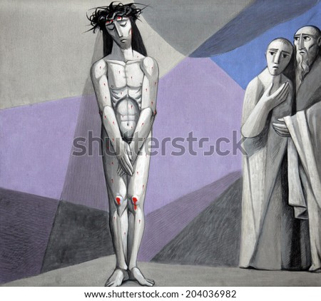 GEMUNDEN,GERMANY - JULY 18:10th Stations of the Cross, Jesus is stripped of His garments,Church of the Holy Trinity on July 18, 2013 in Bavarian village of Gemunden am Main in the Diocese of Wurzburg. - stock photo