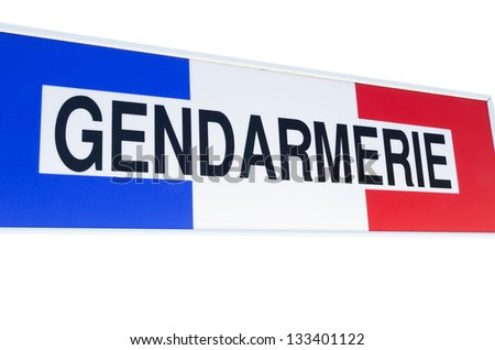 Gendarmerie sign, french police isolated on a white background