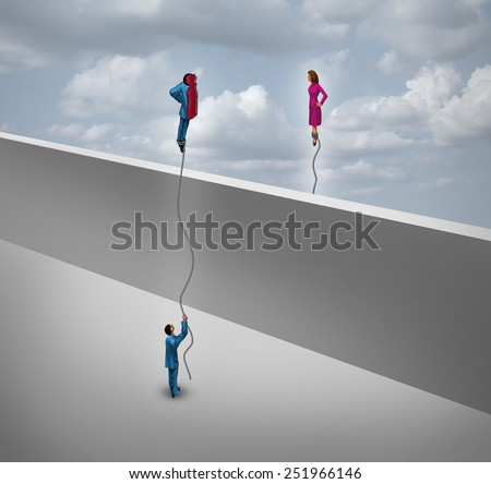 Gender and sexuality concept as a man and a woman floating half their bodies like a balloon over a wall as a symbol for relationship and identity search. - stock photo