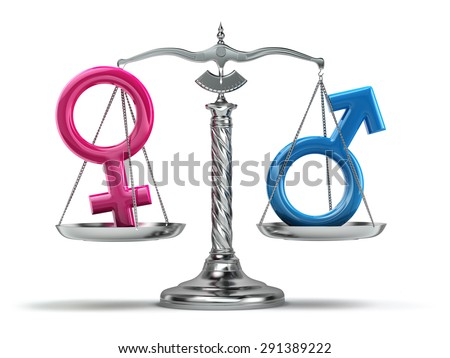 Gender equality concept. Male and female signs on the scales isolated on white. 3d - stock photo