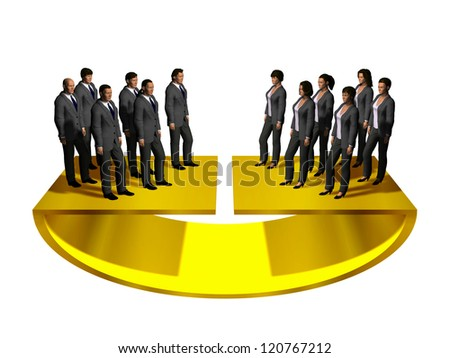 gender equality on a golden scale, gender pay gap - stock photo