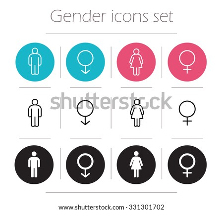 Gender icons set. Lady and gentleman restroom sign. Wc man and woman body shape symbols. Boy and girl silhouette. People pictograms. Contour line male and female raster illustrations isolated on white - stock photo