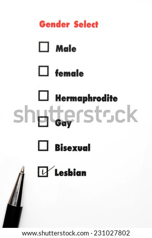 gender select choice,check Lesbian, sex concept