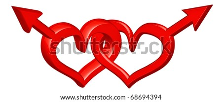 gender sign gay couple red hearts bounded in love concept for homosexual valentines day isolated on white valentine symbol for two lovers - stock photo