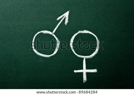 Gender symbols on green blackboard