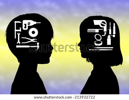 Gendered Education. Boys for techniques and manual works, girls for cosmetics and beauty, prejudices or not - stock photo