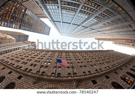 general architecture with American flag, fish-eye photo taken in New York, USA.