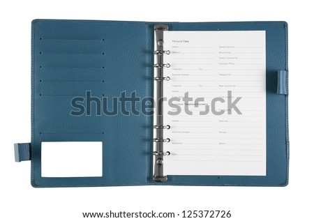 General blue notebook with personal data on white background, isolate (General design, non copyrighted)