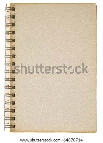 General cardboard cover of spiral notebook isolated on white - stock photo