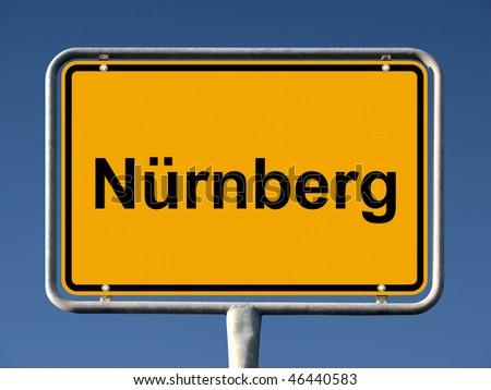 General city entry sign of Nürnberg (Nuremberg), Germany - stock photo