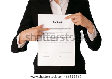 General director showing a contract for her partner - stock photo