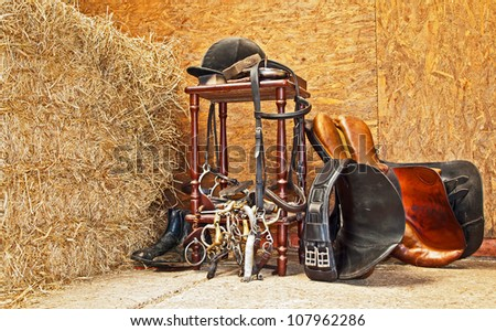 General equestrian equiptment usually found at any English barn/stable - stock photo
