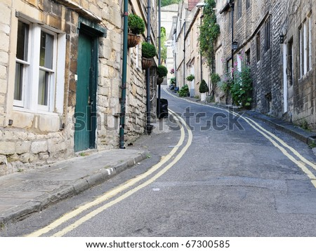 General Street View in a Typical English Village - stock photo