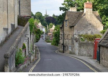 General Street View in an Old English Town - Namely Bradford on Avon in Wiltshire England  - stock photo