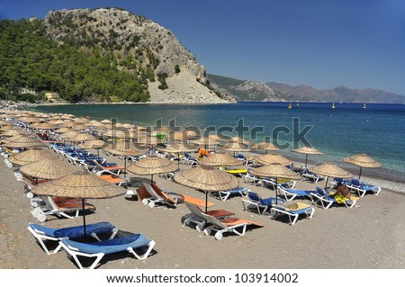 General view of beach in Marmaris resort, Turkey - stock photo