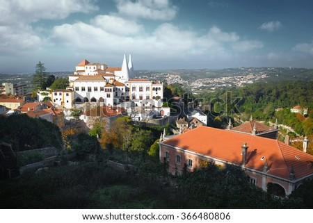 General view of National Palace in the portuguese romantic town of Sintra - stock photo