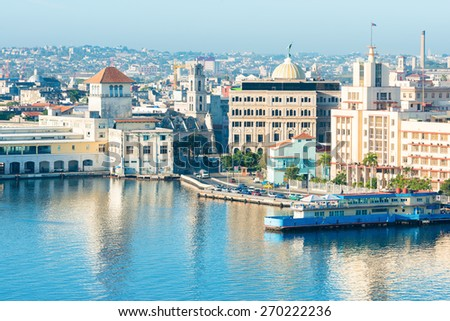 General view of Old Havana including several well known tourist destinations - stock photo