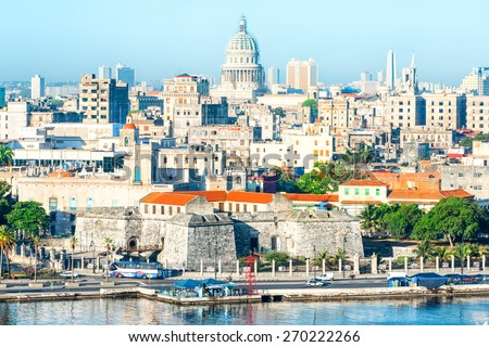General view of Old Havana with several famous landmarks - stock photo