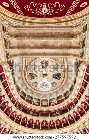 General view of the auditorium's ceiling at The Odessa National Academic Theater of Opera and Ballet in Ukraine. Central Golden Hall. 06 Jan 2014 - stock photo
