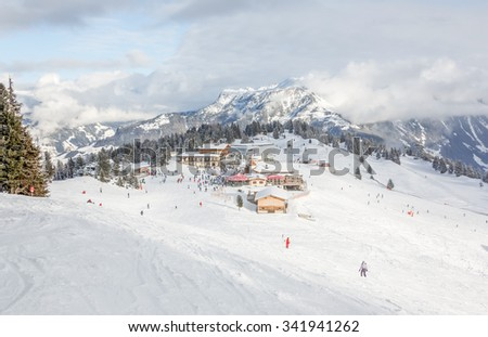 General view of the ski area Mayrhofen - Zillertal, Austria - stock photo