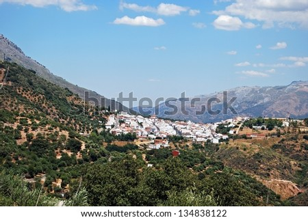 General view of the town, Cortes de la Frontera, Malaga Province, Andalusia, Spain, Western Europe. - stock photo