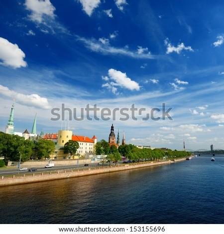 general view on Riga embarkment in bright sunny day, Latvia - stock photo