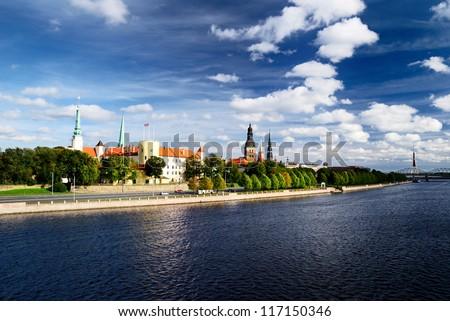 general view on Riga embarkment, Latvia - stock photo