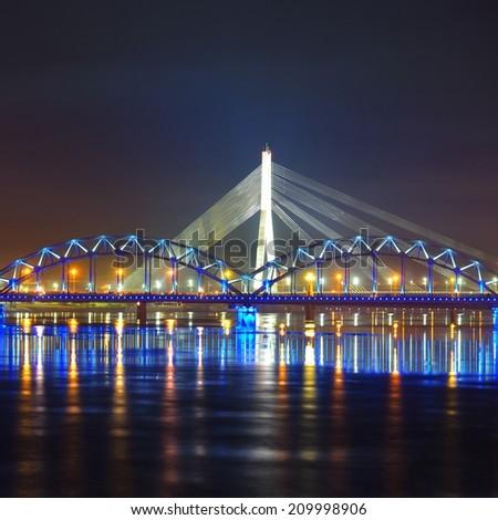 General view on Riga keypoints and Daugava river, Latvia - stock photo