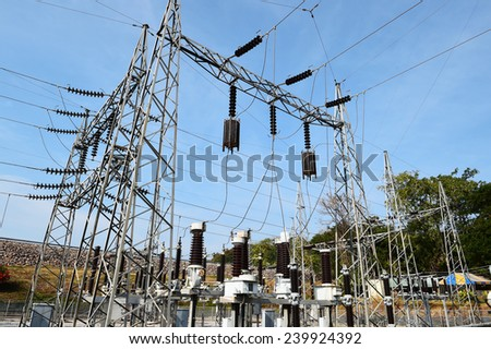 general view to high-voltage substation with switches and disconnectors.   - stock photo