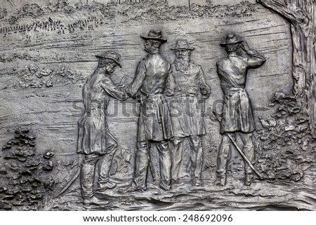 General William Tecumseh Sherman Bronze Bas Relief Battle of Atlanta Civil War Memorial Pennsylvania Avenue Washington DC.  Statue dedicated 1903, artist Carl Rohl-Smith. Located in back of Treasury. - stock photo